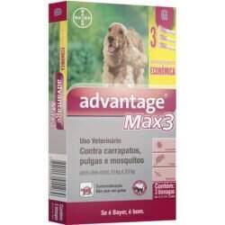 Advantage Max 3 Antipulgas e Carrapatos Cães de 10 a 25kg Bayer 2,5ml Combo 3 Pipetas