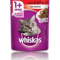 Alimento Úmido Sachê Whiskas Gatos Adultos 1+ Carne ao Molho 85g